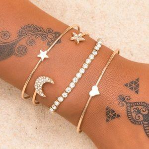 Jewelry - Gold Moon & Star Bracelet Set